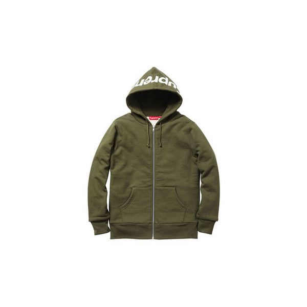 407510847362 Supreme  Hood Logo Thermal Zip-Up - Army ( 158) ❤ liked on Polyvore  featuring tops