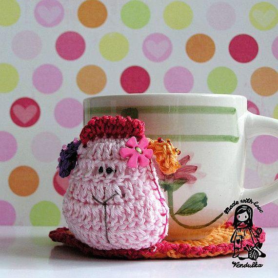 Crochet sheep coaster - pattern DIY | Ganchillo patrones, Oveja y Mantel
