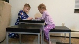 Nesting tables for kids to use for projects and playtime in the living room.
