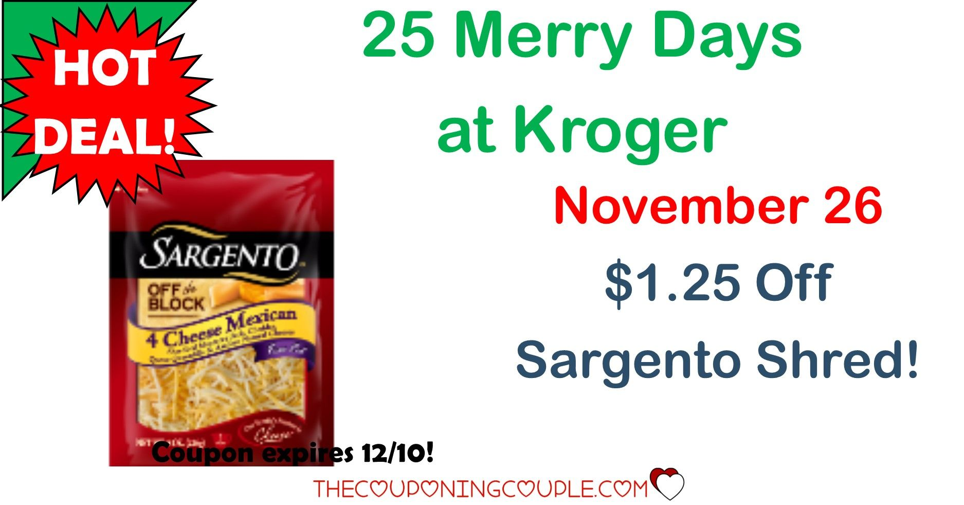 25 Merry Days of Kroger 11/26~ $1.25 Off Sargento Shred | Store ads ...