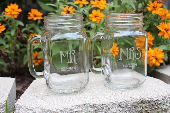 Wedding Gift Mr Mrs Engraved Mason Jars Beer Mugs