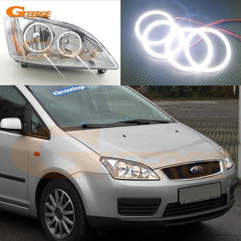 For Ford Focus C Max 2003 2004 2005 2006 2007 Halogen Headlight Excellent Ultra Bright Smd Led Angel Eyes Halo Rin Ford Focus Halogen Headlights Led Angel Eyes