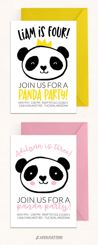 Panda Party Invitation / Panda Birthday Invitation / DIGITAL / Panda ...