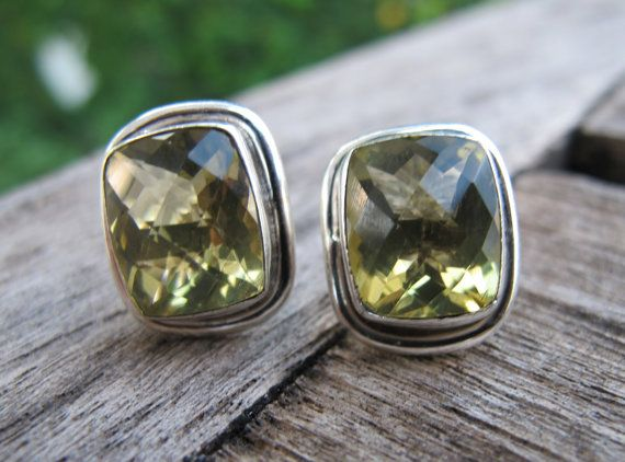 Green Amethyst Studs Amethyst Silver Studs Gemstone by Belesas