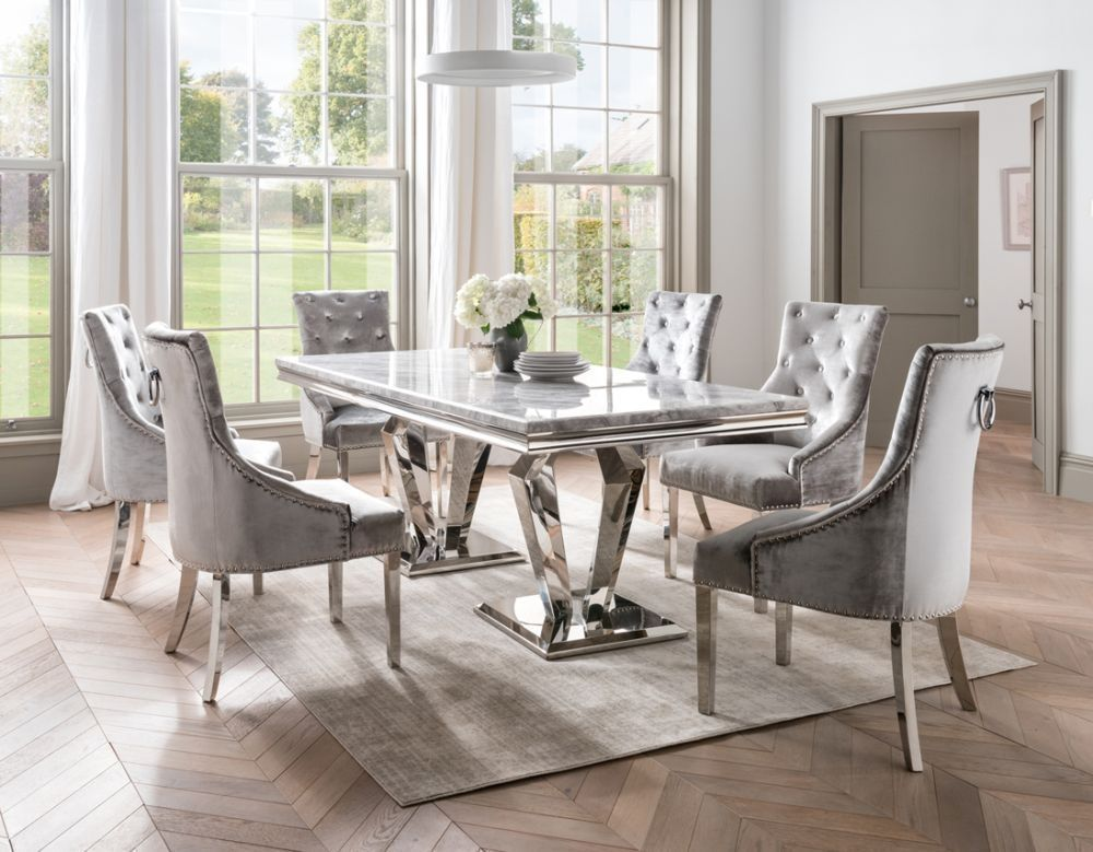 Vida Living Arturo Large Grey Marble Dining Table And Chairs Chrome And Champagne Velvet Grey Dining Tables Dining Table Marble Marble Top Dining Table