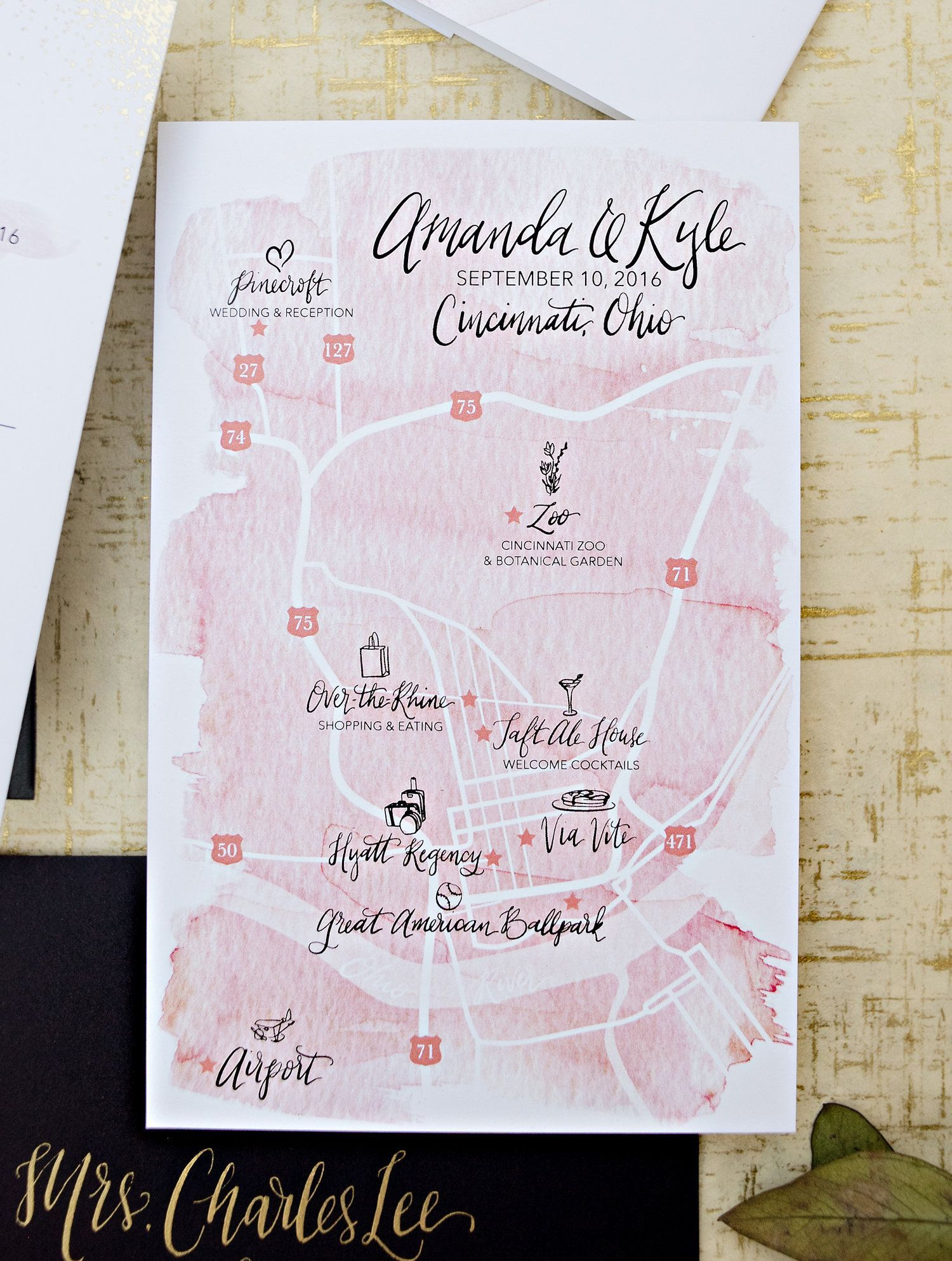 gold foil dot and blush watercolor wedding invitation suite, blush ...