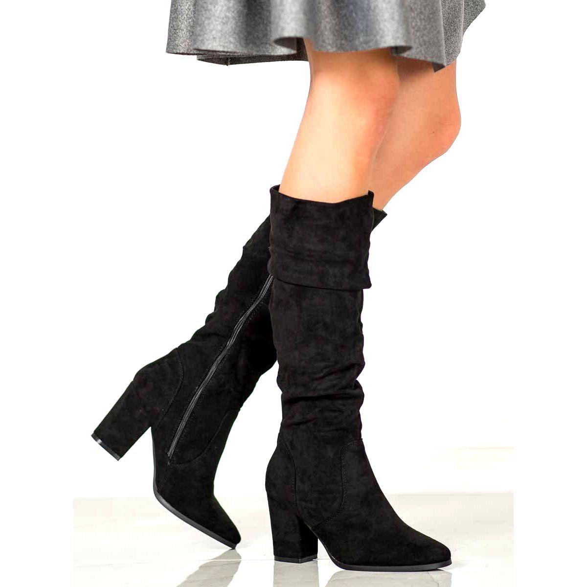 Shelovet Zamszowe Kozaki Na Obcasie Czarne Suede High Heels Heels Black High Heels