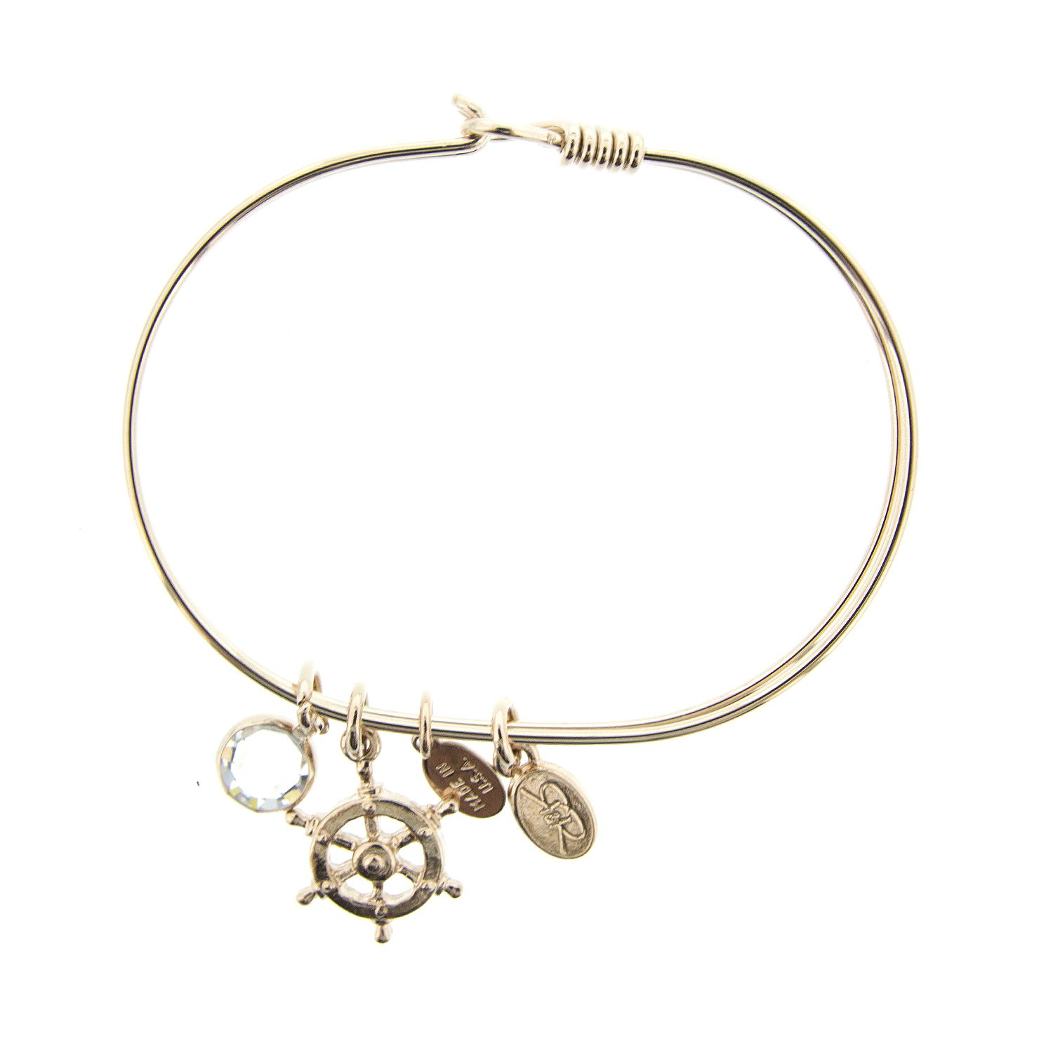 Rose gold shipus wheel nautical bracelet by reese and rose made in