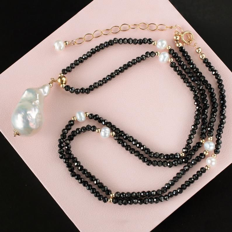 White Baroque Pearl Pendant Necklace Black Spinel