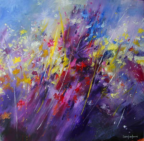 Paintings of flowers in acrylic flowers acrylic on for Painting flowers on canvas with acrylic paint
