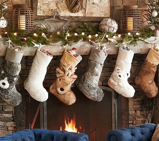 Faux Fur Stocking Collection Kids Christmas Stockings