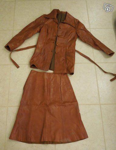 Naisten nahka-asu, ruskea, vintage, koko 36