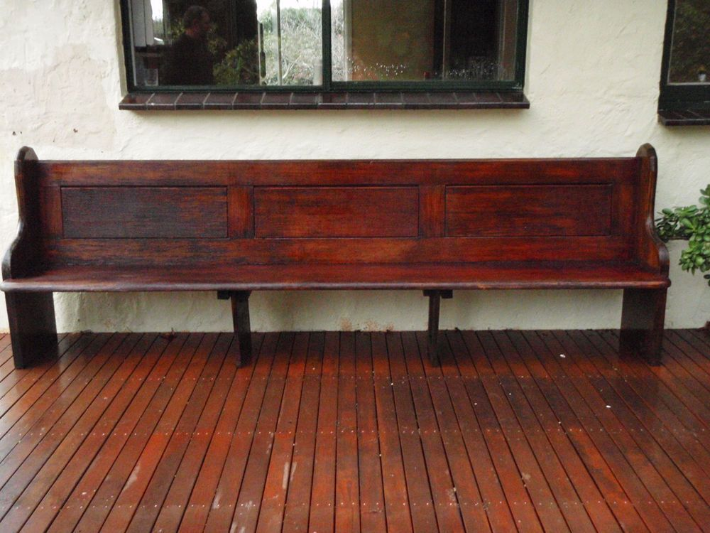 Antique Vintage Solid Wood Church Pew Bench Seat Extra Long