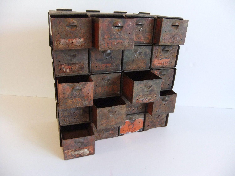 Vintage Nuts And Bolts Metal Storage Bin Metal Metal
