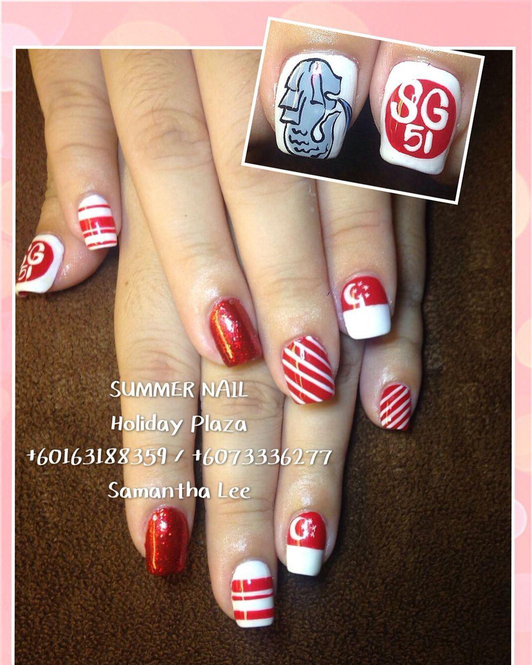 Singapore National Day Diy Nail Designs Holiday Nails Diy Nails