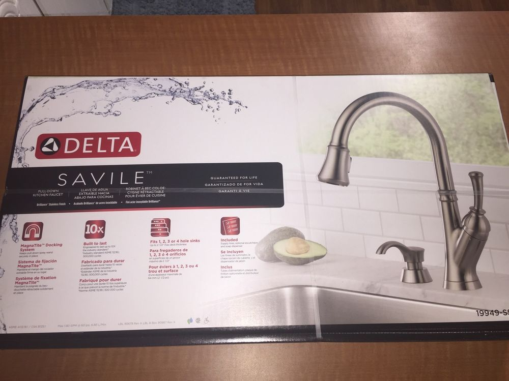 Brand New Delta Savile Pull-Down Kitchen Faucet 19949-SSSD ...