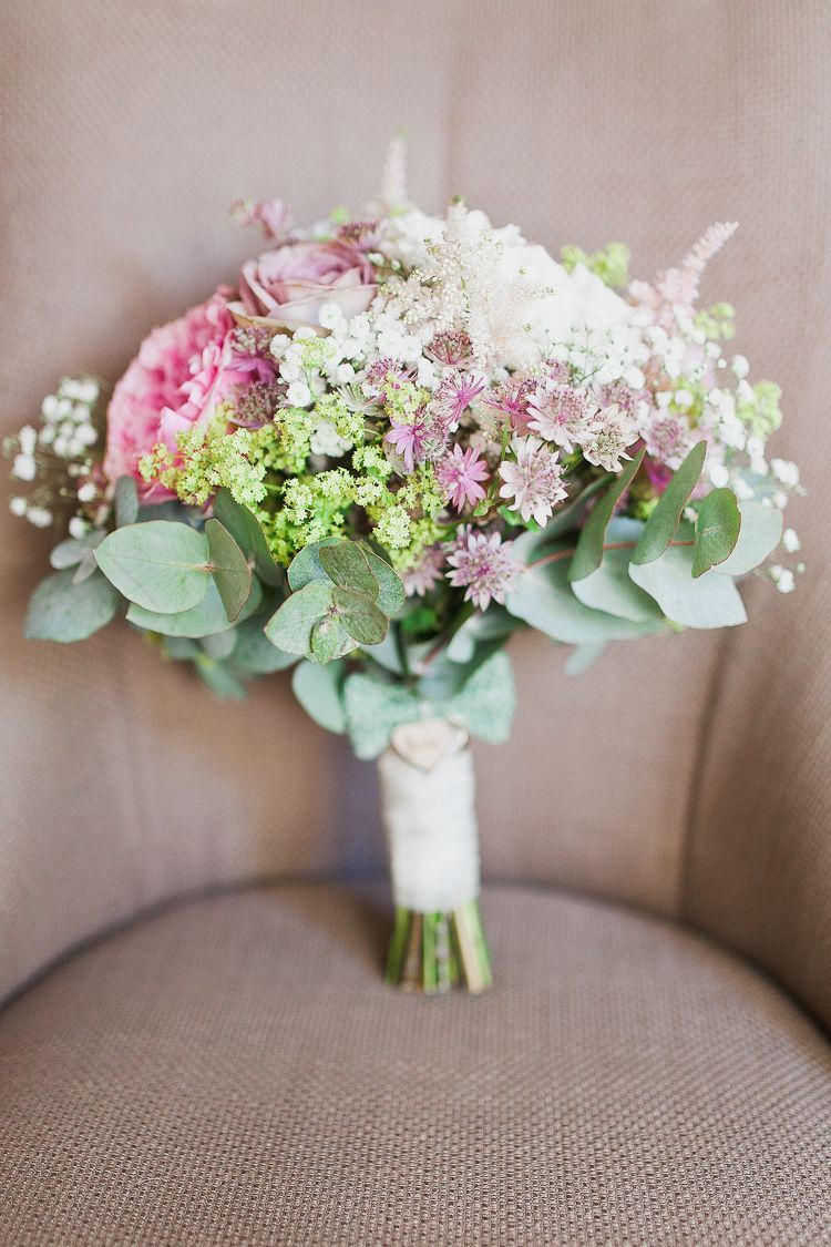 Fresh Country Pink Green Wedding With Tweed Bow Ties In Full