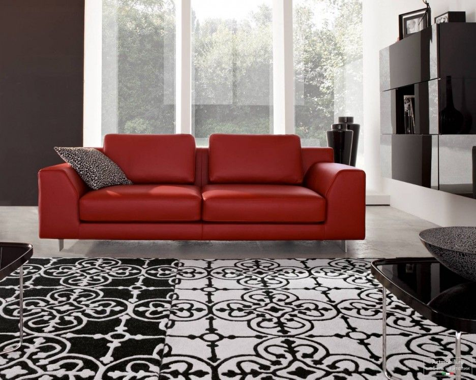 Captivating Modern Living Room Decoration With Fancy Red Leather Sofas