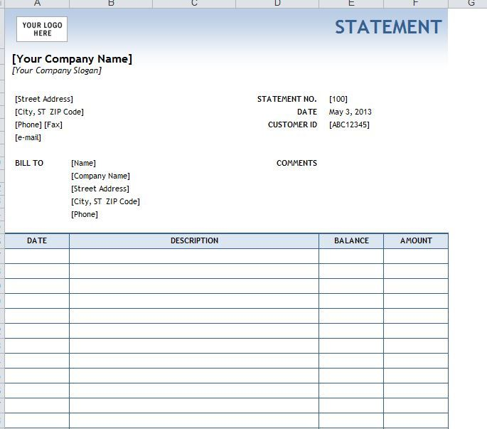 Billing Statement  Form    Statement Template And Template