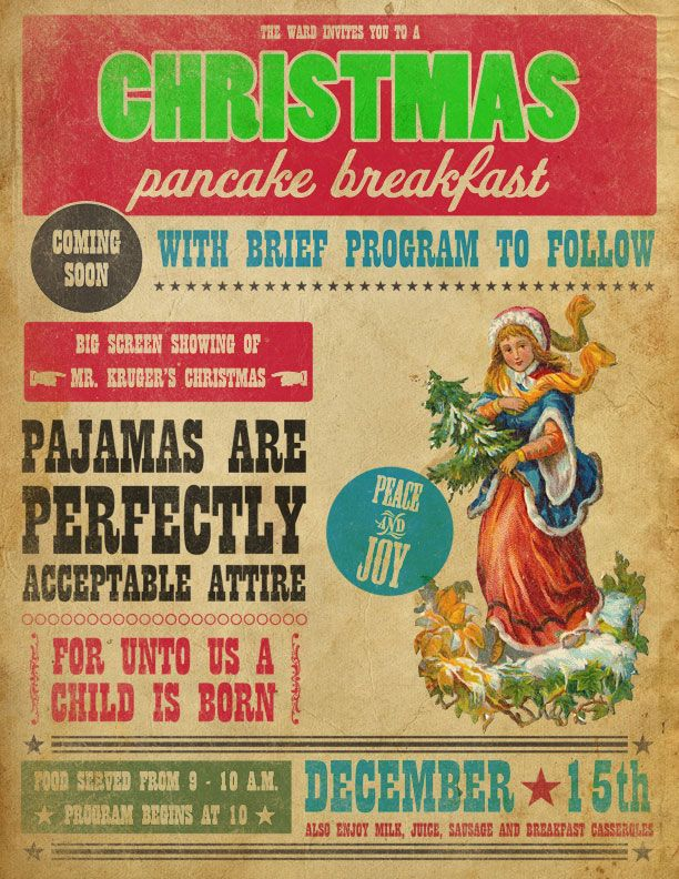 Pancake Breakfast church party with Christmas placemat