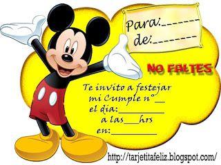 Tarjetas De Cumpleaños Para Imprimir Invitación Mickey