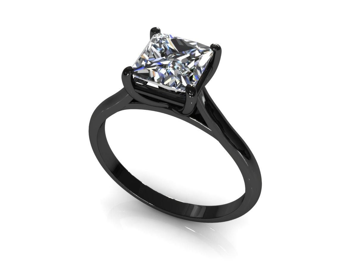 Wedding Rings  Black Band Princess Cut Engagement Ringswedding