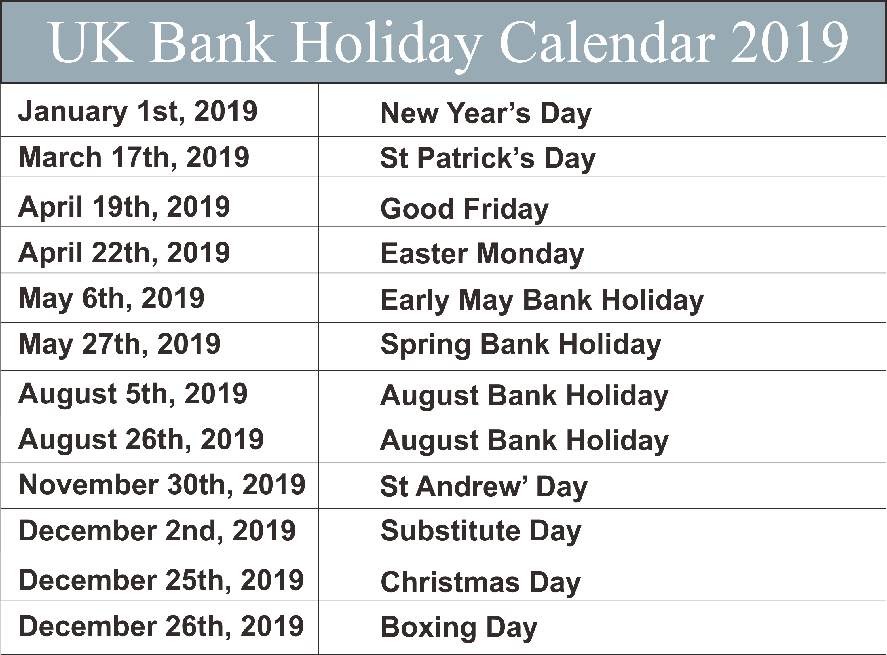 UK Bank Holidays Calendar 2019 National holiday calendar