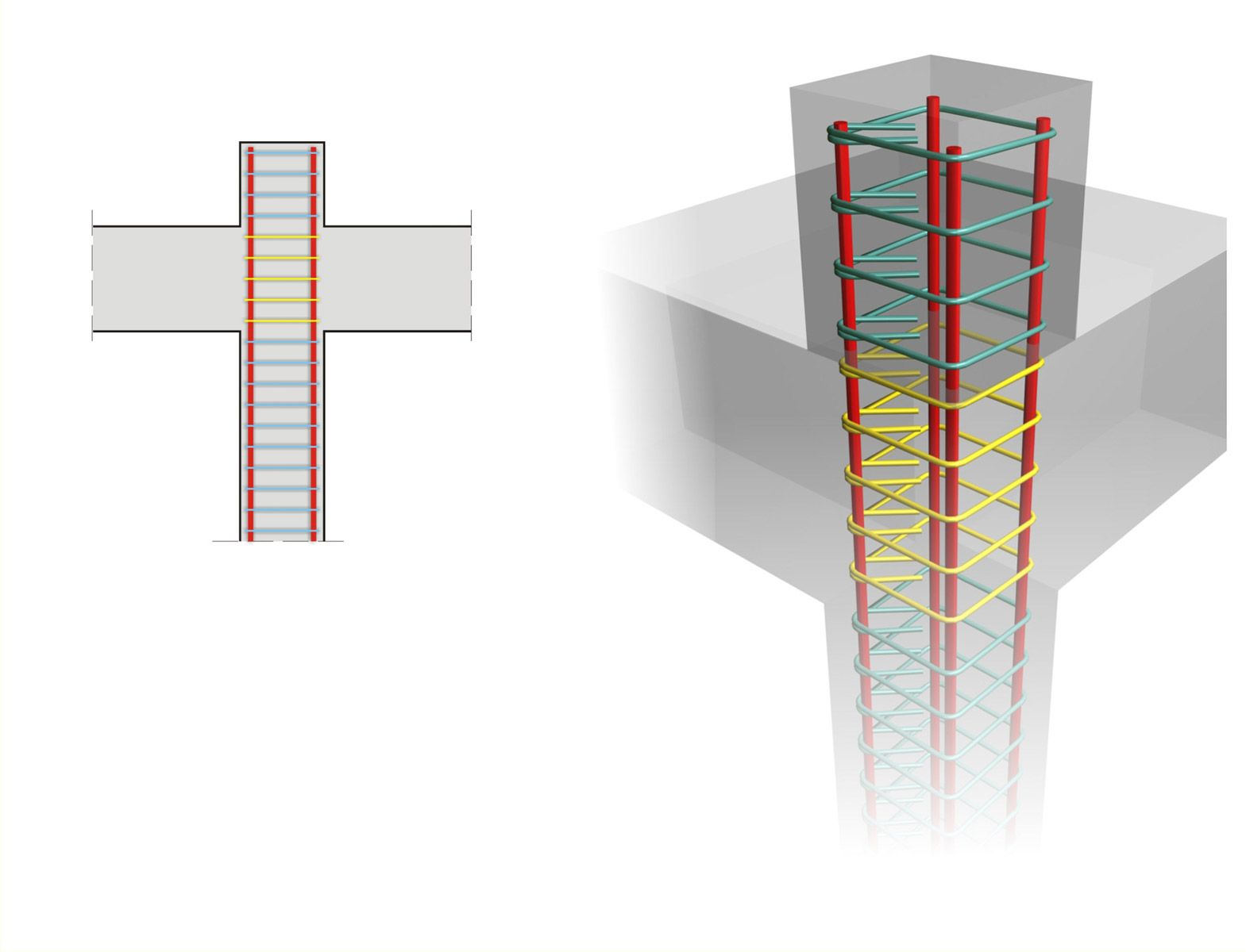 Anchoring the upper column rebars with the use of an ...