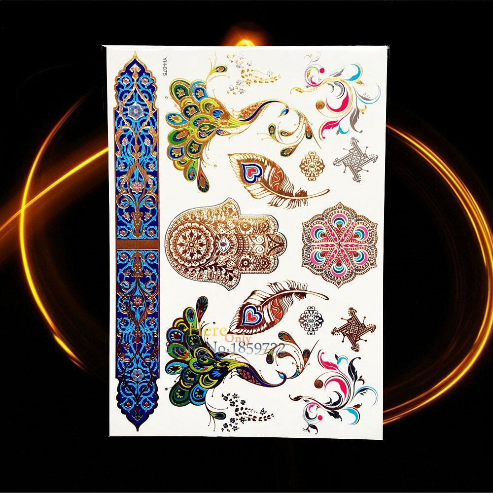 Peacock feather design metallic temporary tattoo products