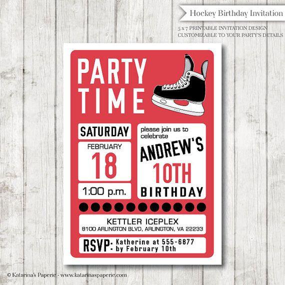 Hockey Birthday Invitation Ice Hockey Party Hockey Invitation