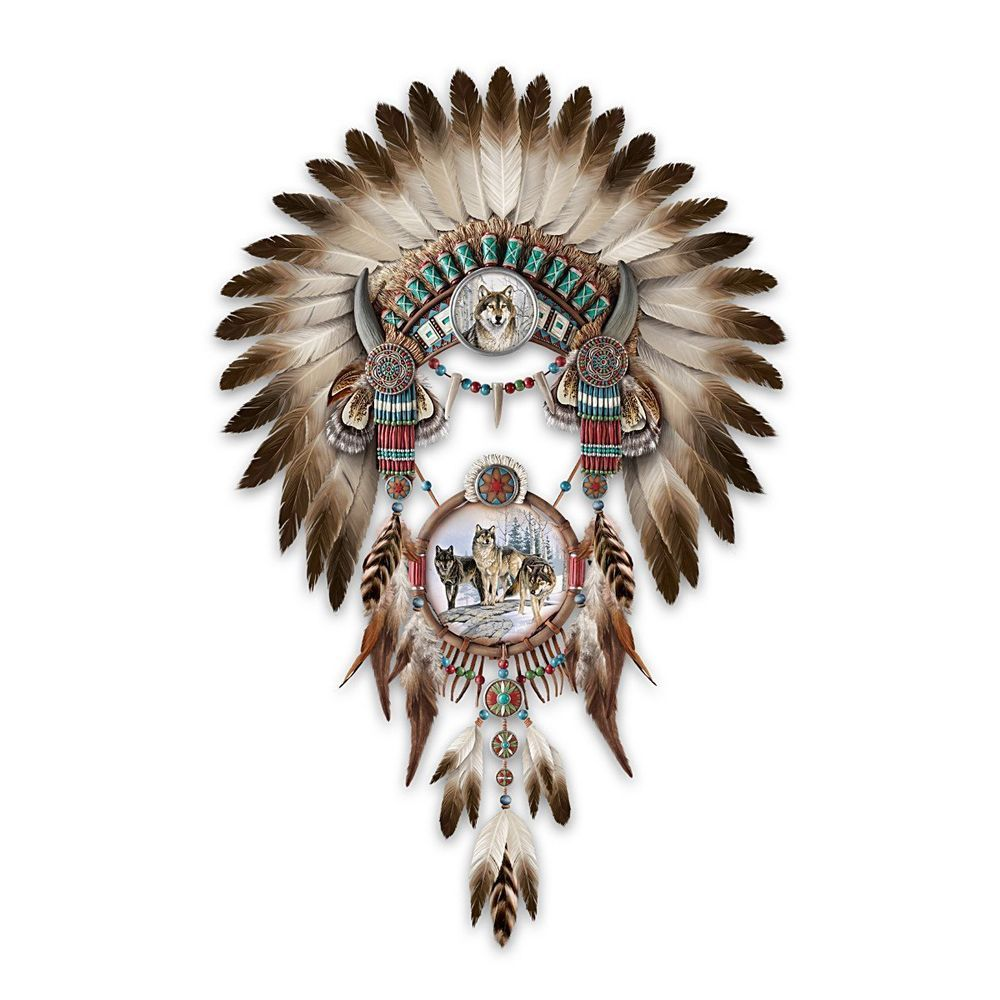 Native American Wall Decor beautiful headdress wolves wolf native american style wolf dream
