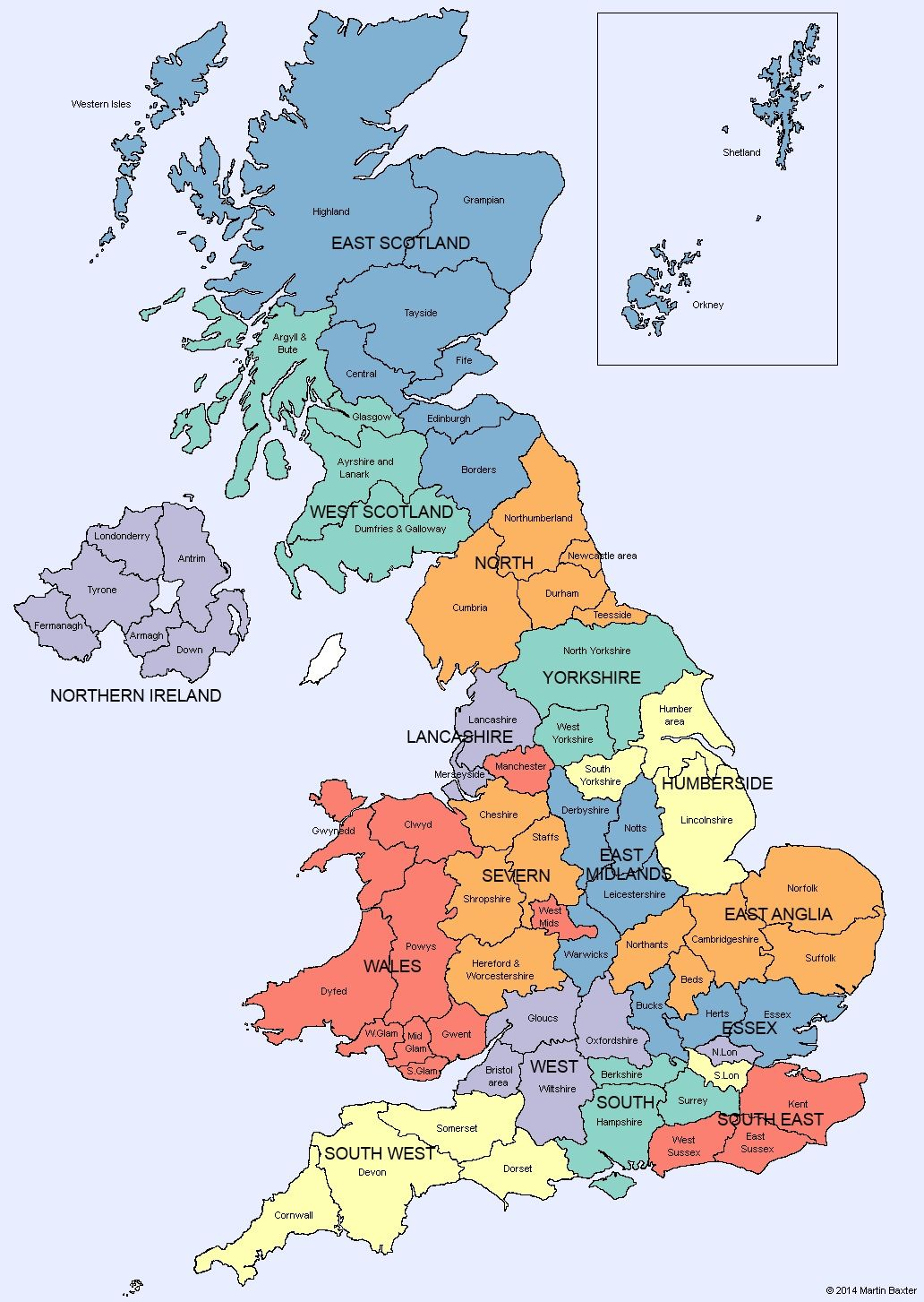 UK Map of Regions and Counties of England Scotland Wales and