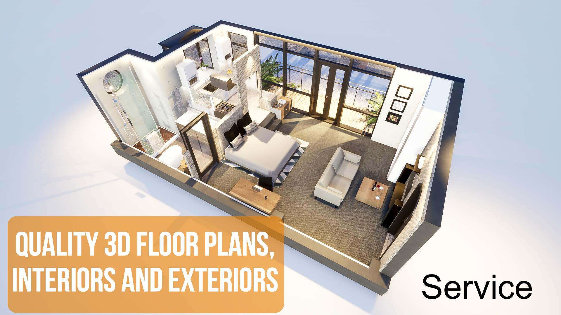 I Will Create Quality 3d Floor Plans Interiors And Exteriors Interior And Exterior Rendered Floor Plan Floor Plans