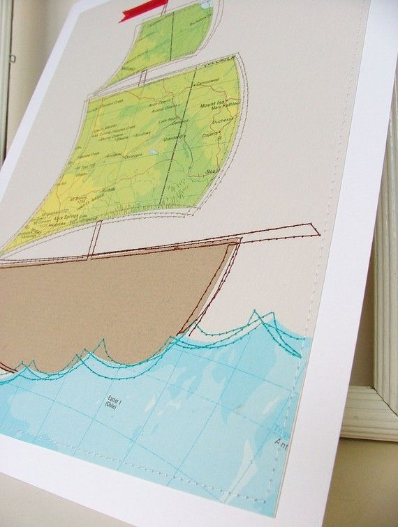 $17.91 USD Sailing ship wall art made from atlas pages by moonmum on Etsy
