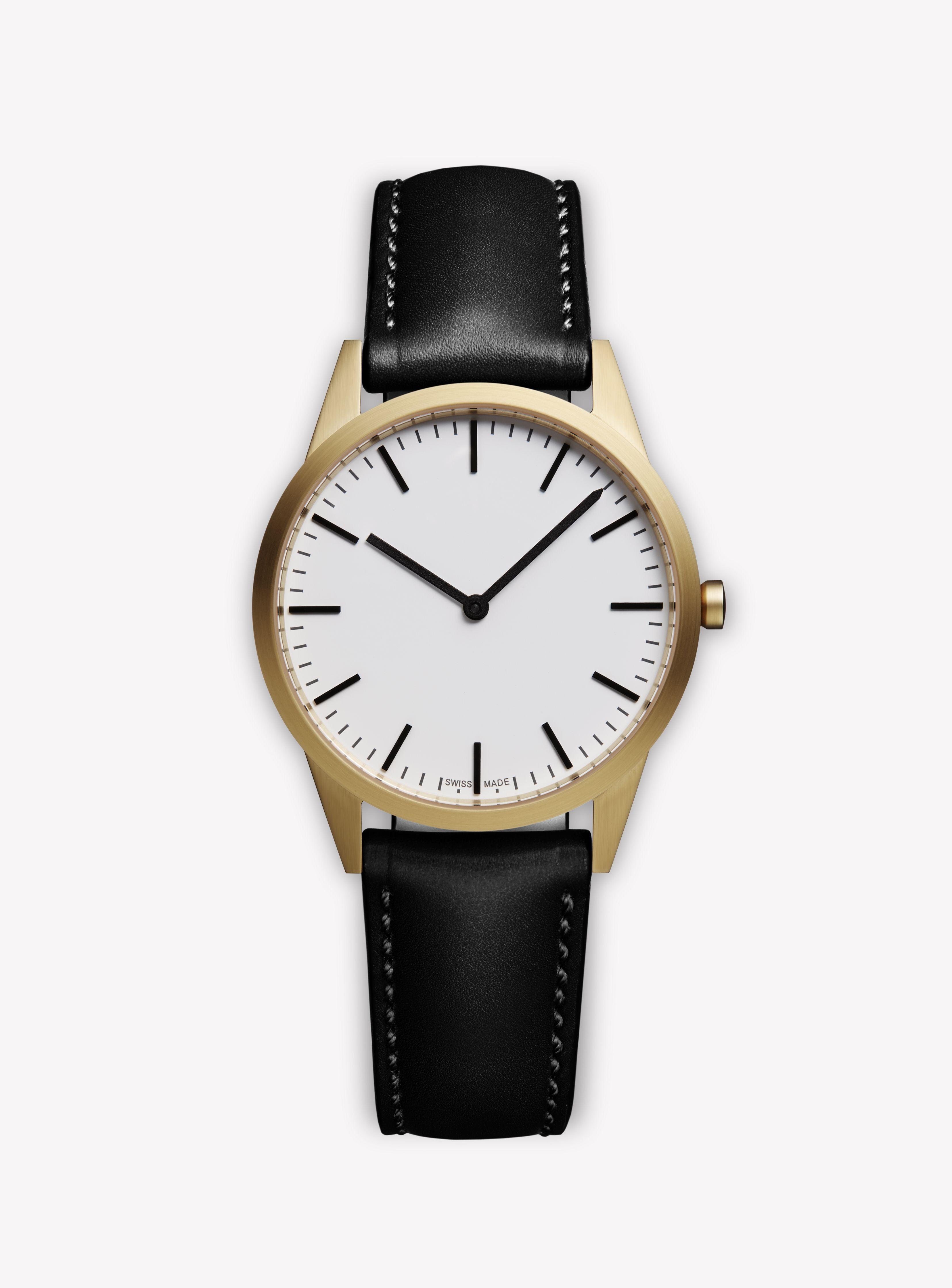 Uniform Wares C35 Watch Sgo 01 35mm 2 Hand Dress Watch Pvd Satin Gold Case White Dial With Black Uniform Wares Watch Second Hand Watches Brown Leather Watch [ 4481 x 3311 Pixel ]