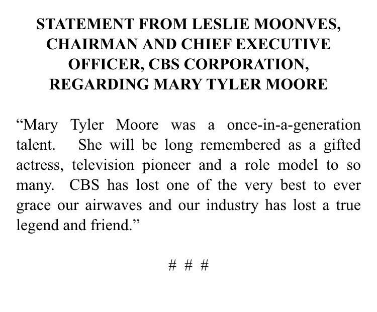 TV MoJoe on Leslie moonves, Mary tyler moore and Tyler moore