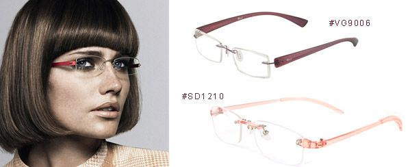 Rimless Titanium Eyeglasses For Small Faces: Office Ladies ...