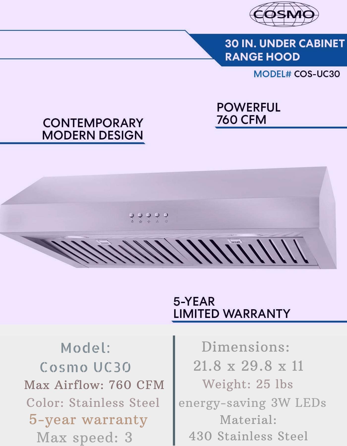 Cosmo Uc30 Cabinet Range Hood Ductless Range Hood Range Hood Range Hood Reviews
