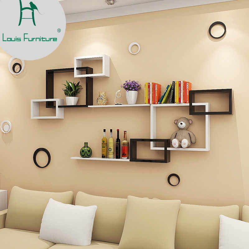 Louis Fashion Panel Wall Shelf Modern Simple Hanging Creative Plaid Living Room Dining Decorative Background Aliexpress In 2020 Wall Shelves Living Room Bookshelves In Living Room Modern Wall Shelf