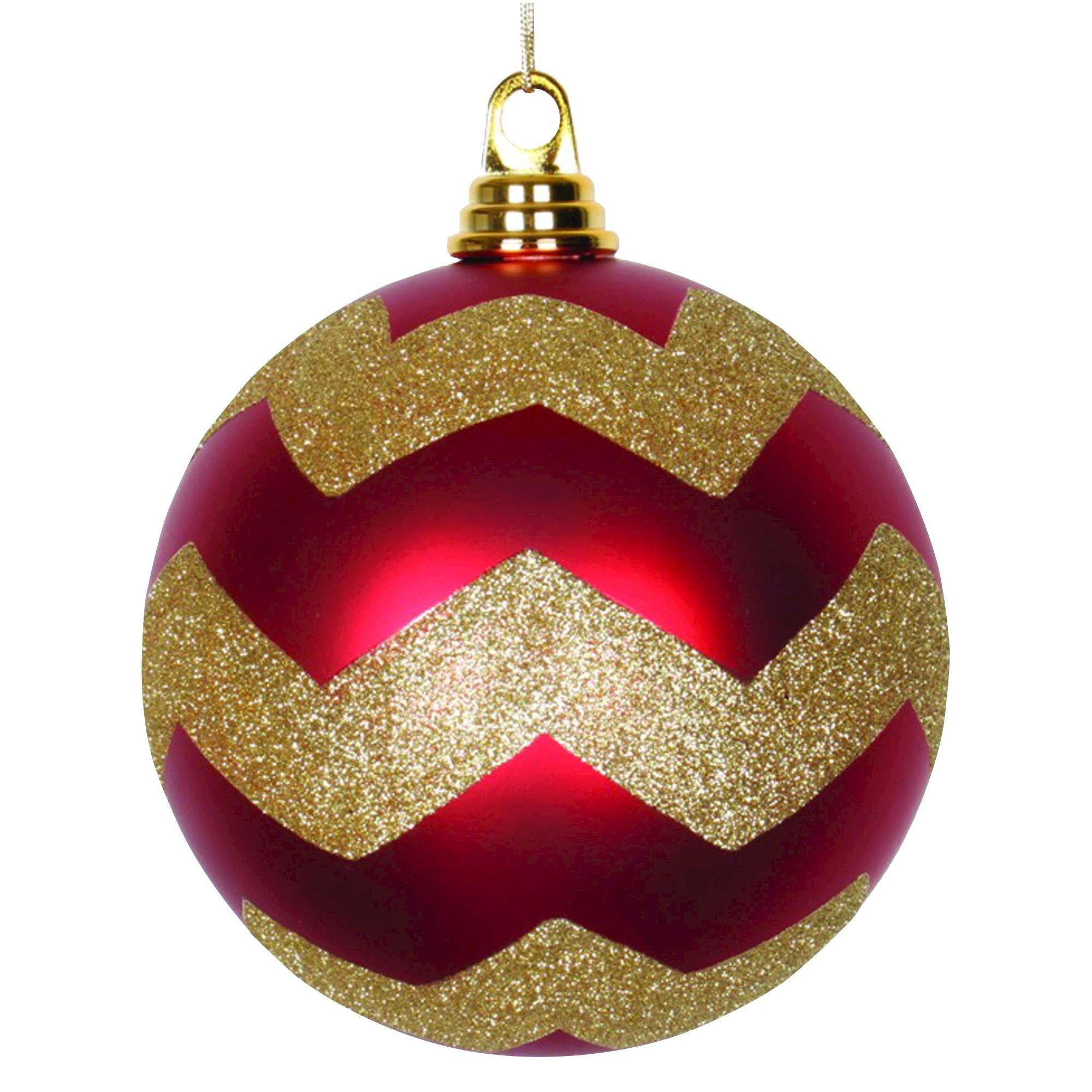 6 Red Gold Matte Glitter Chevron Ball Christmas Ornament Christmas Ornament Sets Christmas Chevron Christmas Ornaments