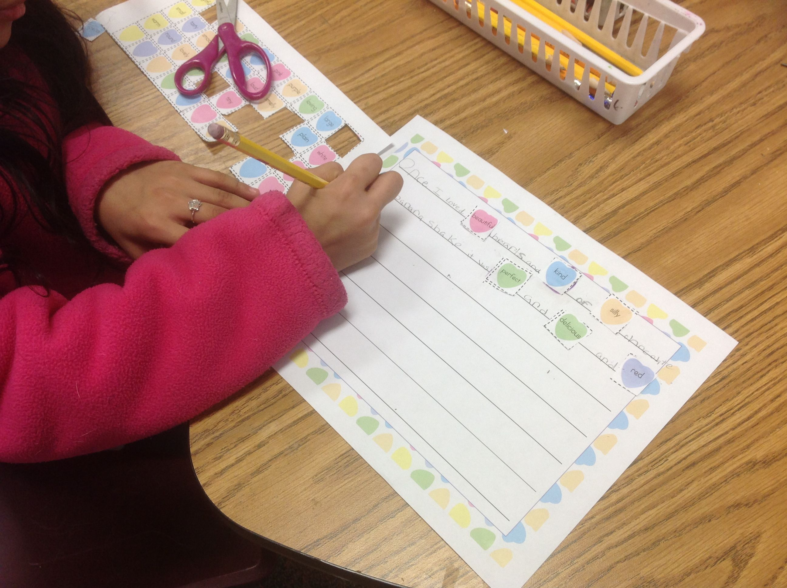 Candy Heart Writing With Adjectives For Valentines Day And