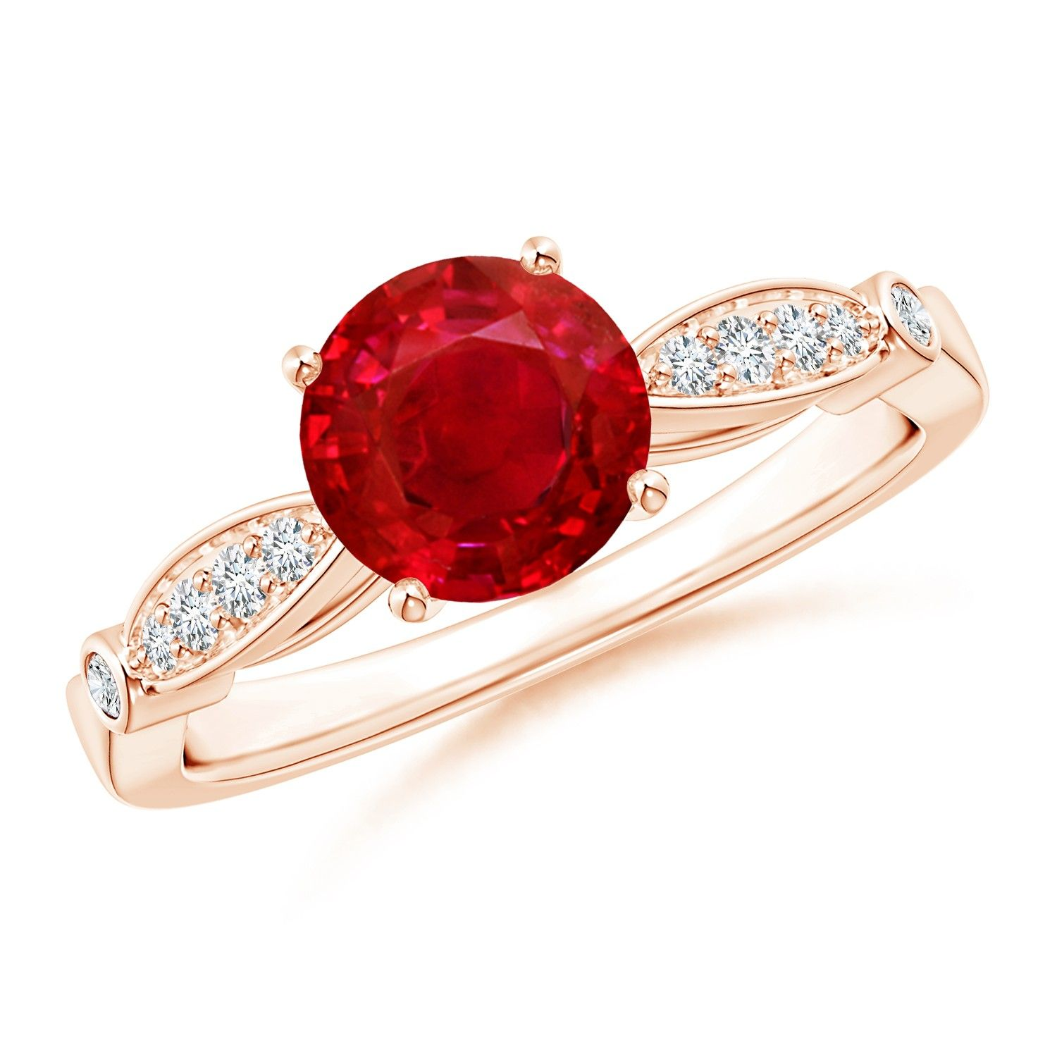 Angara Round Ruby Solitaire Ring with Milgrain Detailing QH10X