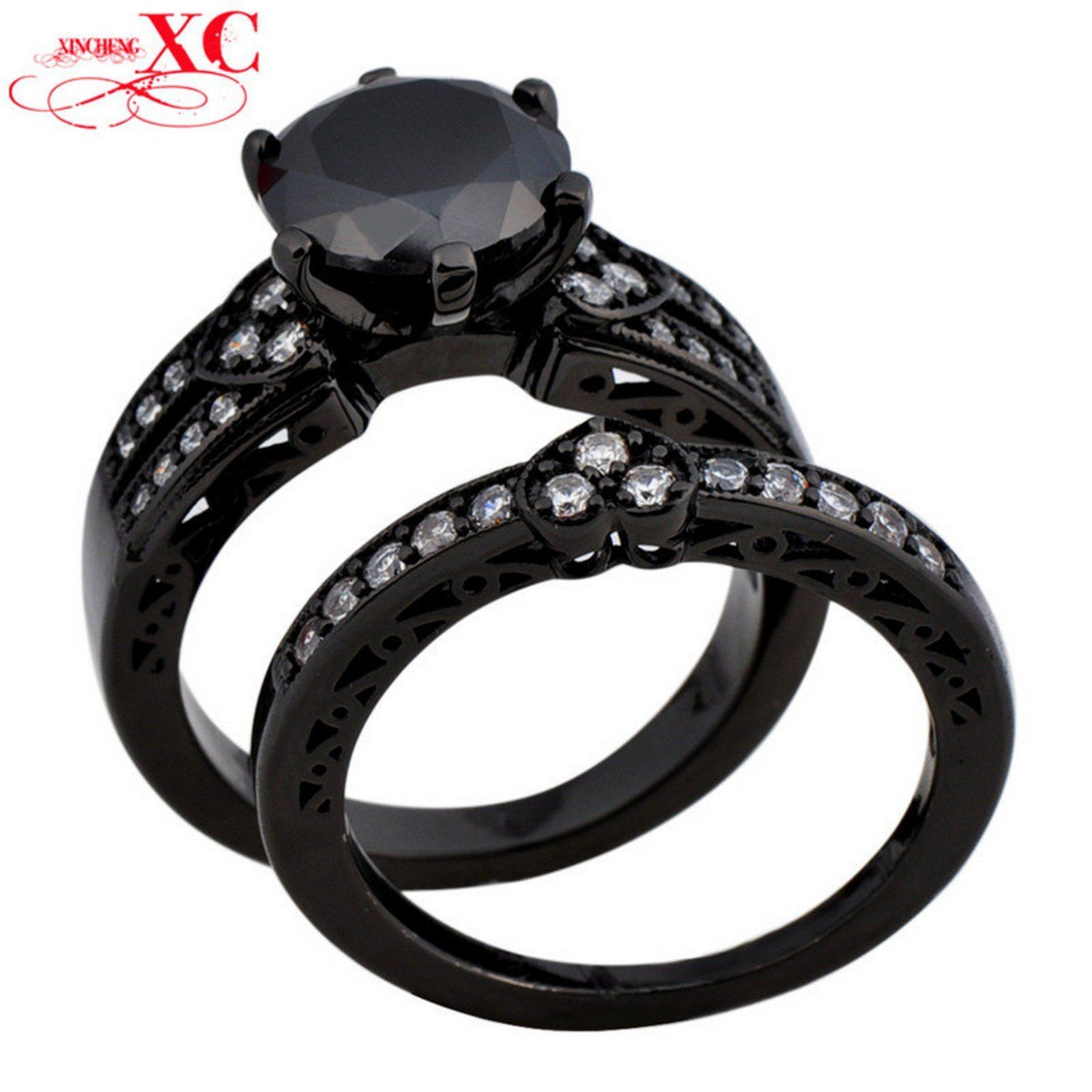 Dudee Jewelry Double Ring Wedding Finger Ring LZircon T Black Gold