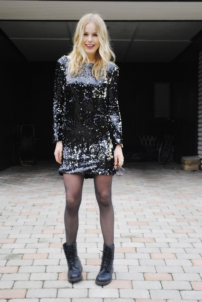 sparkly dress with boots