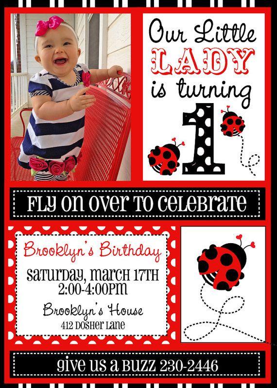 Ladybug birthday birthday invitations Pinterest Ladybird