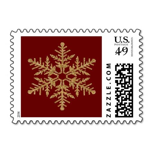 Gold Faux Glitter Snowflake Postage Stamps