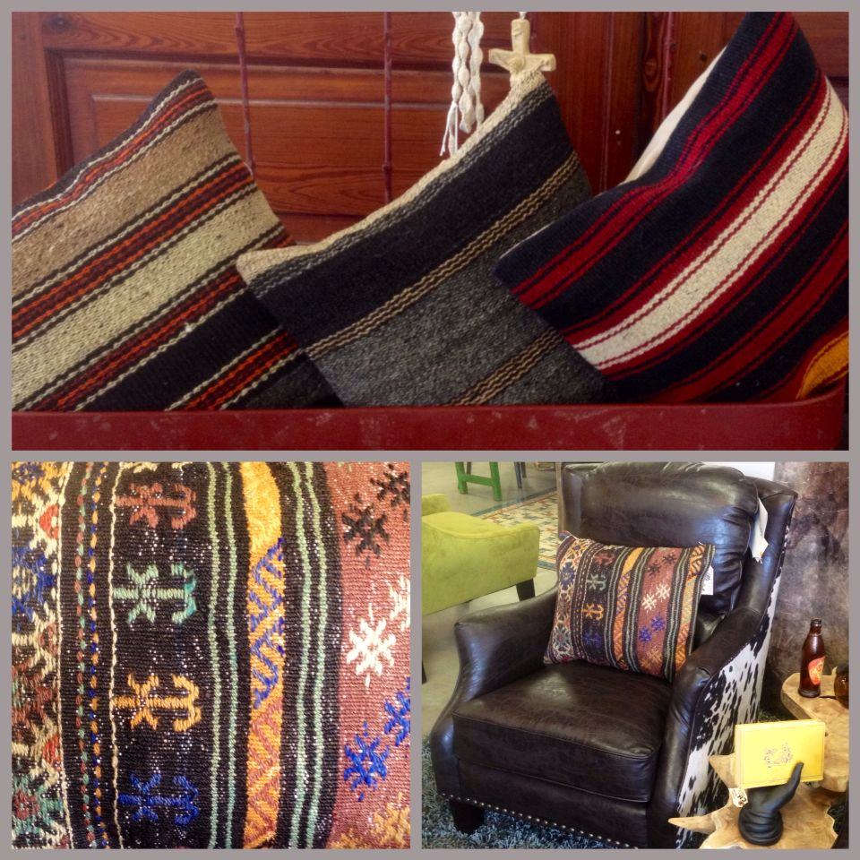 Vintage handmade Kilin and goat hair throw pillows. Located in ...