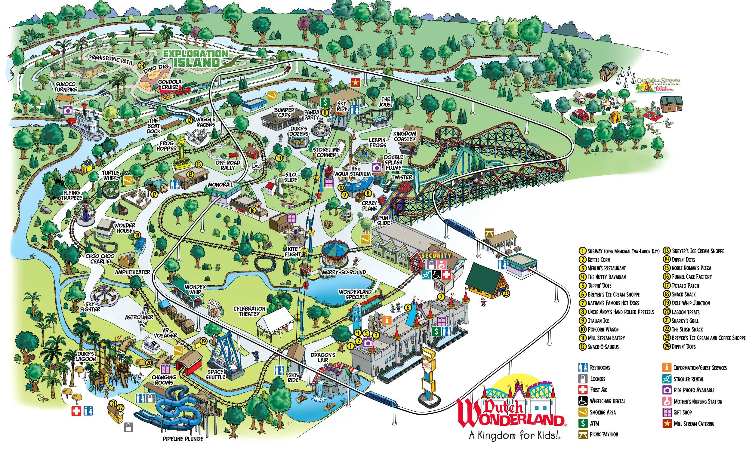 Park Map of Dutch Wonderland Amusement Park in Lancaster