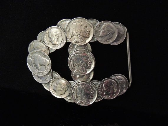 Old Coin Belt Buckle BUFFALO Nickels & Dimes - Contemporary Folk Art