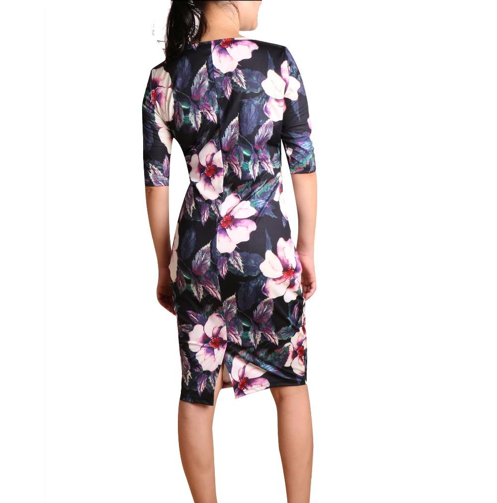 Floral Dress Dresses Length: Knee-Length Style: Casual Season: Summer Material: ... 2